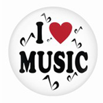 721149 Button I Love Music 1 3/4""