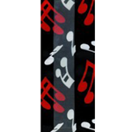 550043 Scarf Black w/ White & Red Music Notes