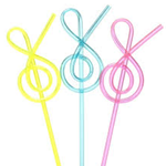 12100 Plastic Straw G Clef Colored