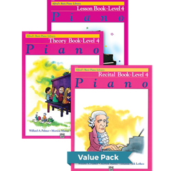 Alfred's Basic Piano Library Lesson Theory Recital 4 Value Pack